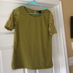 Ann Taylor Lace Sleeved Tee